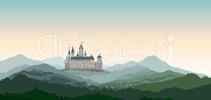 Castle Mountains Landscape. European nature travel background