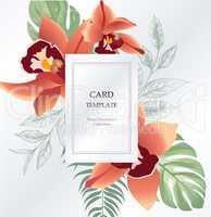 Floral greeting, invitation card template design. Flower backgound