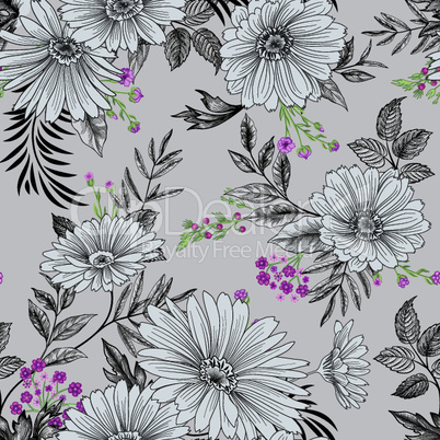 Floral seamless pattern. Garden Flower summer background.