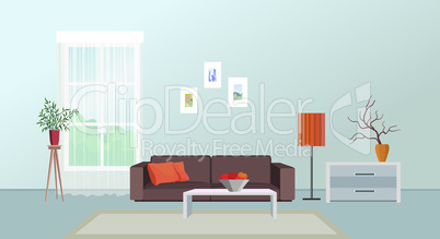 Living room interior. Furniture design. Home interior with sofa, table, window