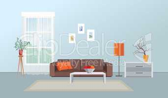 Living room interior. Furniture design. Home interior with sofa,