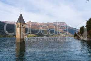 Church in the water at Lake Reschen in Tyrol in north Italy