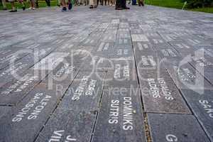 Way with stone slabs in Koknese park Garden of Destinies in Latv