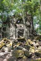 Ruins of ancient Beng Mealea Temple over jungle, Cambodia.