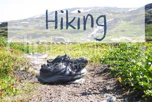 Shoes On Trekking Path, English Text Hiking