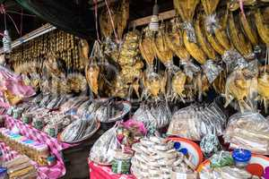 Asian market near Vang Vieng in Laos, Asia