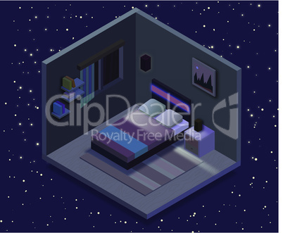 Isometric bedroom illustration. Vector flat illustration.