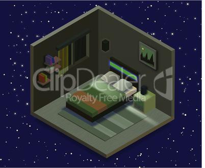 Isometric bedroom illustration. Vector flat illustration.