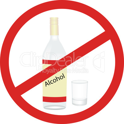Stop alcohol warning sign vector pictogram