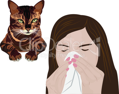 Young sick woman ill suffering pets allergy