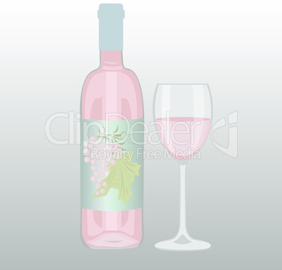 Bottle of rose wine and a glass