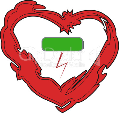 Heart and charged battery icon symbolizing boost of energy