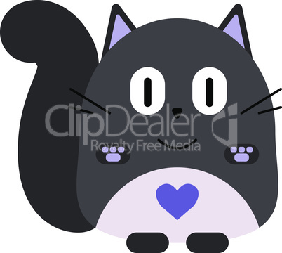 Valentines day card. Cute cartoon fat gray cat with heart