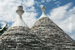 Typical conical roofs of Trulli houses in Alberobello, Apulia, I