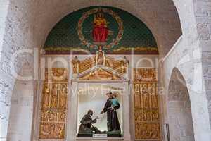 Particular of the interior of the church in Alberobello, Puglia,