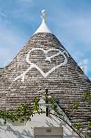 Symbol in the Trullo conical rooftop in Alberobello, Apulia, Ita