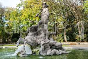 The Neptune Fountain in Alter Botanical Garden of Munich, Germany
