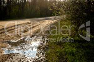 Puddles on the country road in Latvia.