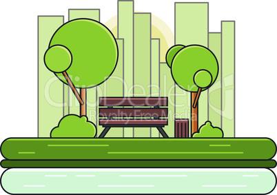 Park. Vector Nature Landscape. Empty Urban Garden.