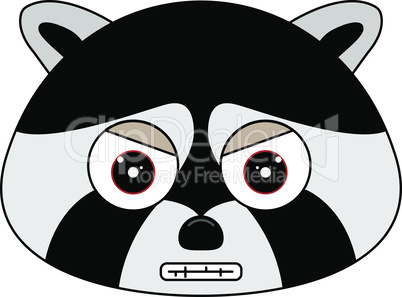 Head of racoon in cartoon style.