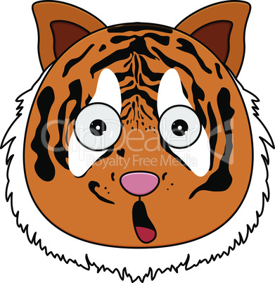 Head of tiger in cartoon style. Kawaii animal.