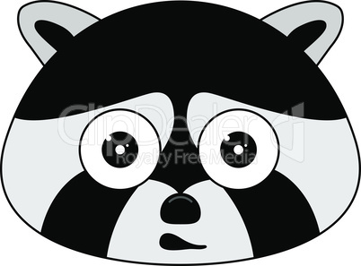Head of racoon in cartoon style. Kawaii animal.