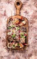 Grilled shish kebab or shashlik