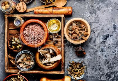 Dried herbs in alternative medicine