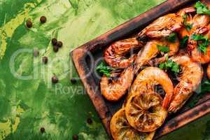 Barbecue shrimps or prawns