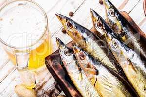 Smoked fish saury