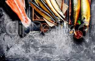 Smoked fish saury and mackerel