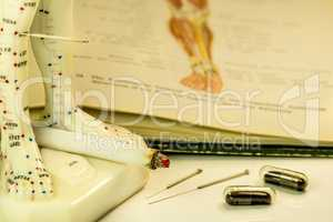 Acupuncture to stop smoking, cigarette, needle, model and textbook