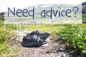Shoes On Trekking Path, Text Need Advice