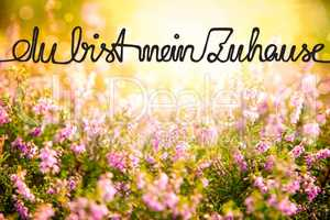 Erica Flower Field, Calligraphy Zuhause Means Home