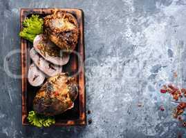 Slices of pork heart