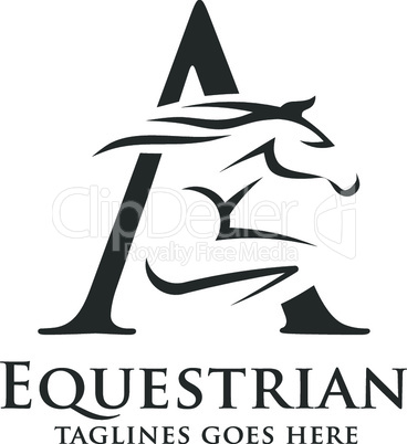 letter A with running stallion logo