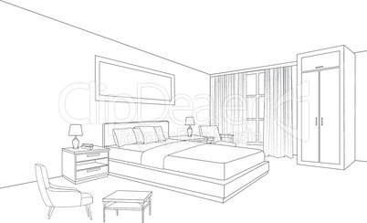 Bedroom furniture interior. Room line sketch drawing. Home Indoor design. Perspective of a interior space