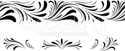 Swirl floral seamless pattern design element set. Ornamental flourish border over white  background.