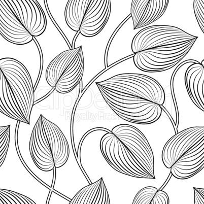 Floral seamless pattern. Leaves background. Flourish garden leaf line art backdrop