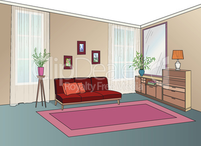 Lliving room interior with furniture: sofa, shelving, table. Living room drawing design. Hand drawing illustration
