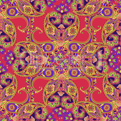 Flourish orient pattern. Floral seamless background