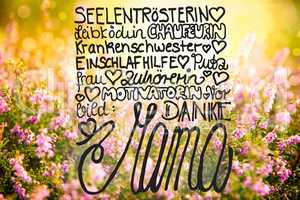 Erica Flower Field, Calligraphy Danke Mama Means Thanks Mom