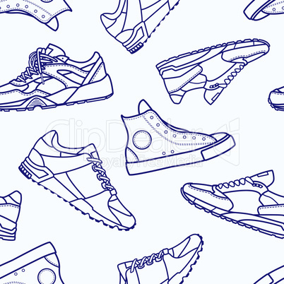 Seamless Pattern with Sneaker Shoe Flat Line Stroke Icon Pictogram Symbol Illustration isolated on white background.