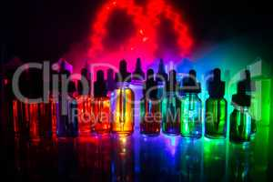 Vape concept. Smoke clouds and vape liquid bottles on dark background. Light effects. Useful as background or electronic cigarette advertisement.