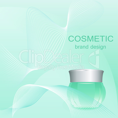 Realistic cosmetic cream blue container vector illustration