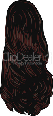 Brown long back.Back hairstyle single icon in cartoon style