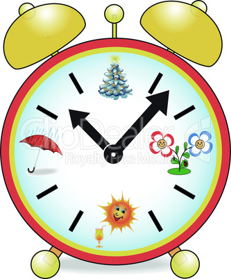 Clock with the seasons