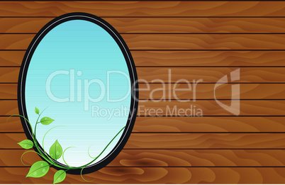 Postcard design with wooden background