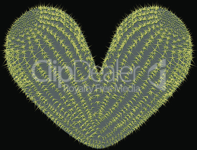 heart shaped prickly pear cactus vector illustration
