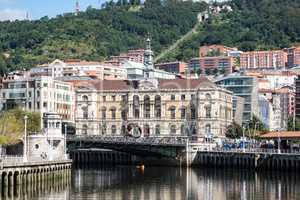 The cityscape of Bilbao, Spain. The Nervion river crosses Bilbao downtown